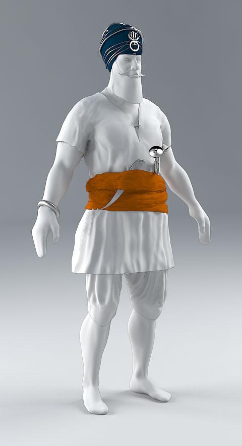 3D model Sikh warrior front